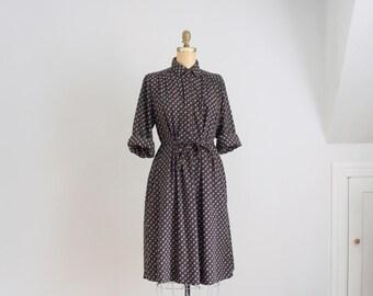 70s brown print tent dress
