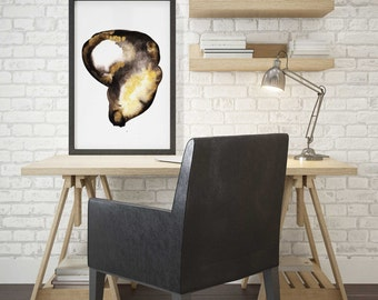 Large Abstract Watercolor Print. Black and Gold Abstract Art. Home Abstract Art Print. Large Black and Gold Wall Art.