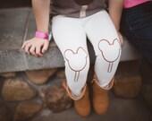 Mouse Leggings Ice Cream Chocolate Bar Hand Painted Childrens Leggings Custom Toddler Leggings Womens Leggings