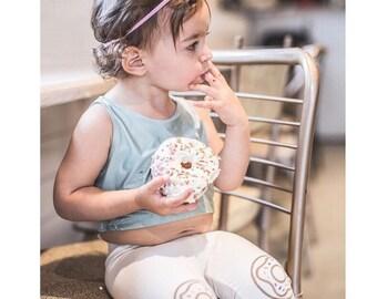 Donut Leggings Hand Painted Childrens Leggings Custom Toddler Leggings Womens Leggings Birthday Leggings