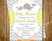 Whale Baby Shower Invitation, Whale Printable Party Invitation, Grey Yellow Chevron Polkadots Shower, Whale Party Supplies