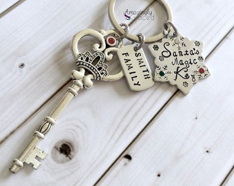 Hand Stamped Personalized Santa's Magic Key Christmas Skeleton Key with Snowflake Tag and Swarovski Crystals Keychain