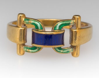 Vintage 18K Yellow Gold Enamel Buckle Ring WMS11398