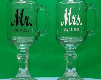 Mr. & Mrs, Redneck Wine Glasses, 2 Personalized Mason Jars With Handles, Engraved, Wedding, Anniversary, Gift
