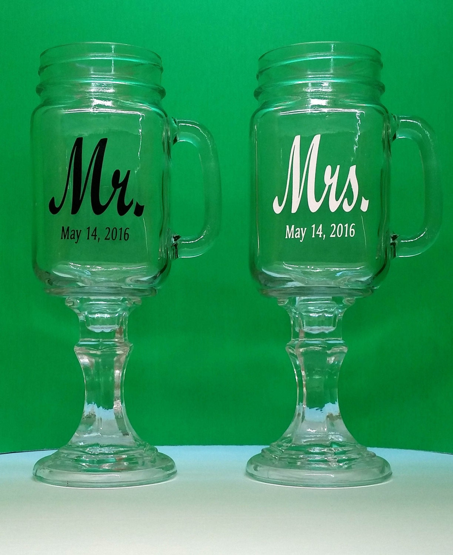 Mr. & Mrs, Redneck Wine Glasses, 2 Personalized Mason Jars