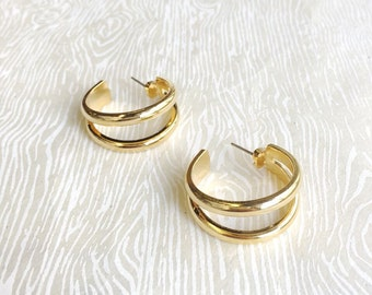 Boho Jewelry Hoop Earrings Open Hoop Earrings Brass Hoop Earrings Gold Hoop Earrings Gold Hoops  Gifts under 30 Janna Conner