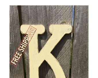Distressed wooden letter K Gungsuh font Free Shipping! perfect for nursery decor, home decor, wedding decor, party decor, and party favors.