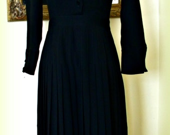 Vintage Black Crepe & Velvet Pleated Dress LeJeune Made in USA