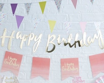 Lovely Gold Happy Birthday Banner Bunting - Modern Calligraphy.