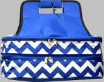 Embroidered insulated casserole  carrier. Royal Chevron print with RoyalTrim   Holds 2 large casserole dishes.