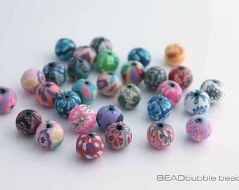 12mm Round Polymer Clay Beads Mixed Colours, Pack of 30 Beads for Jewellery Making (PCB001)