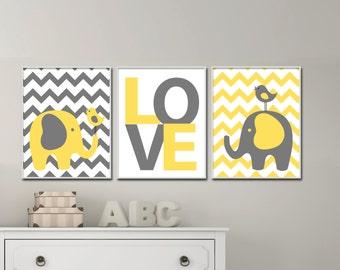 Yellow and Gray Nursery Art, Baby Elephant Nursery Art and Love Art Print Set, Suits Yellow and Gray Nursery Decor -  H279