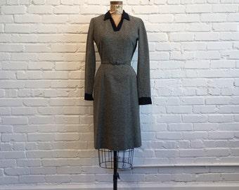 1950s Black Striped Wiggle Dress // 50s Striped Long Sleeve Dress // Vintage 1950s Wool Dress