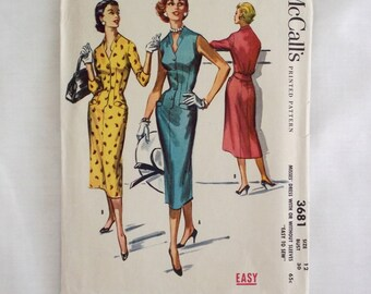 McCall's 3681 size 12 vintage dress sewing pattern 1956 wiggle dress 1950s 50s