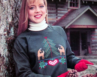 Winter Warmers In Waste Canvas By Polly Carbonari Vintage Cross Stitch Pattern Leaflet 1991