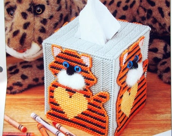 Tiger Tissue Box Cover By Sandra Miller Maxfield And Annie's Attic Vintage Plastic Canvas Pattern Leaflet 1997
