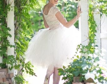Ivory Tulle Skirt - Bridesmaid - Flower Girl Skirt - Wedding Dress - Tutu - Ballet- Tulle Skirt - Maid of Honor skirt - Bachelorette Skirt