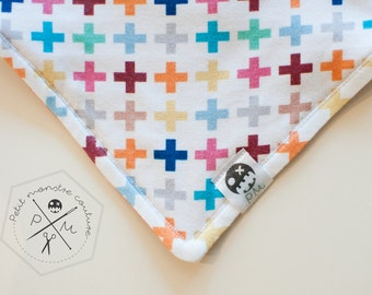 Baby bandana bib - colourfull cross