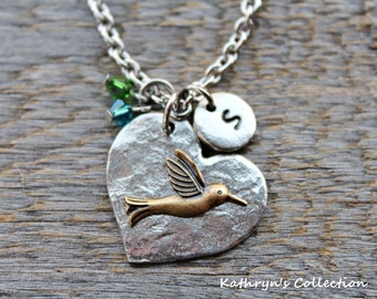 Hummingbird Necklace, Hummingbird Jewelry, Hummingbird Gift, Bird Jewelry