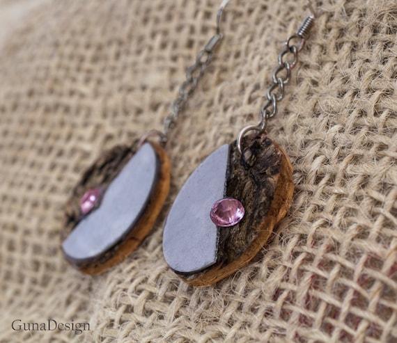 Natural Birch Bark and Metal Dangle Earrings