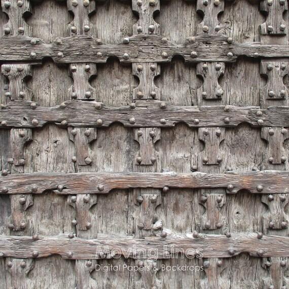 Medieval wood door hand carved gate backdrop