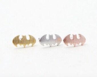 Silver Batman earrings, batman earrings, comic jewellery, comic earrings, statement earrings, cartoon earrings, superhero earrings