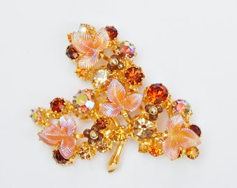 Large Colorful Vintage Aurora Borealis Crystals and Irridescent Pink Leaves Goldtone Pin - Great Spring Colors