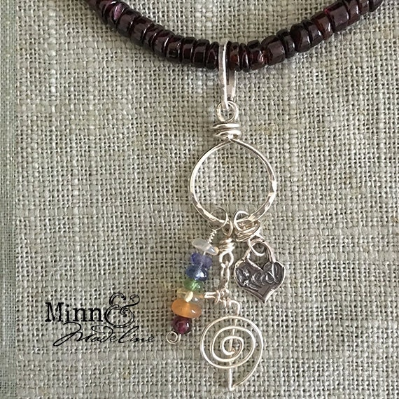 Reiki Jewelry, Chakra Necklace, Reiki & Chakra Charm holder Necklace, Healing Stones