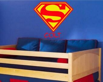Superman logo wall decal, Superman wall decal, Customized superman wall decal, Supergirl logo wall decal, Supergirl logo
