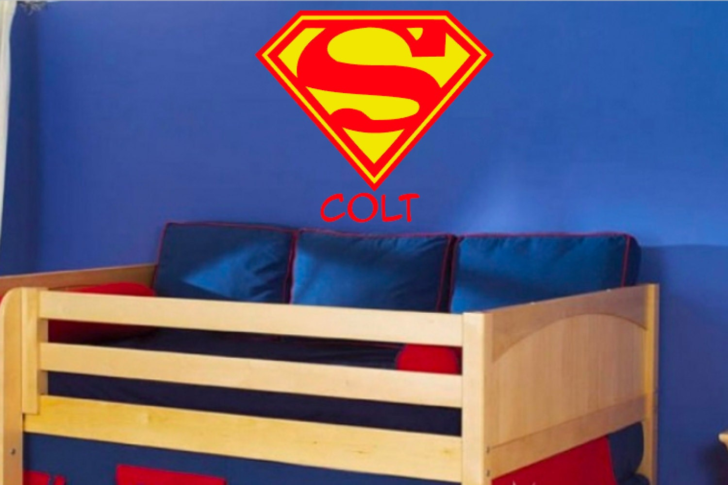 Superman logo wall decal superman wall decal by for Superman wall decal