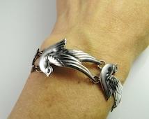 Silver Dove Bracelet Handmade Bracelet Art Deco Bracelet 1940s Jewelry 1920s Jewelry 1930s Jewelry Los Castillo Mexican Jewelry Dainty