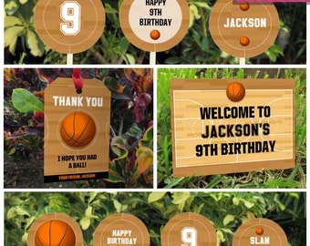 Basketball Invitation & Party Decorations - Basketball Party - Basketball Birthday - Instant Download - EDIT and print using Adobe Reader