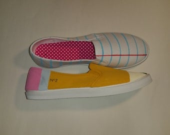 Classic Notebook Paper and  Yellow No. 2 Pencil Shoes - Fun Canvas Shoes For Students and Teachers!