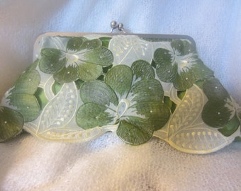 Green and Pale Yellow Embroidered Floral Handbag Clutch Purse