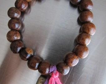 SOLD: Chunky Wooden Bracelet Beaded Meditation Stretch Bracelet Charm Ceramic Charm Prayer Bead Bangle Big Bead Wooden Stretchy Bracelet