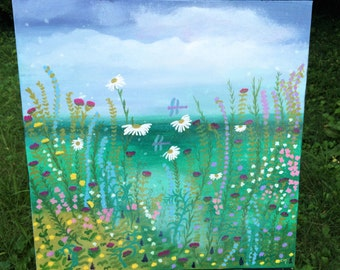 DRAGONFLY POND fantasy wildflowers bloom beside a lush blue green pond , 20 x 20 in. original painting on canvas