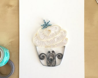 Frozen Inspired White Silver Cupcake with Snowflake Wall Decor, Silver Winter Decorations, Snow Home Decor, Gifts Under 30, Gift for Chef