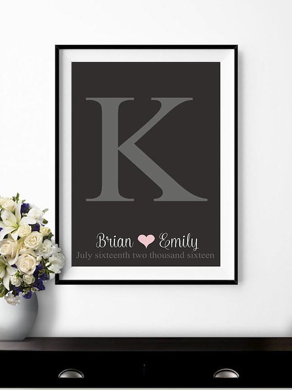 Alternative Wedding Gifts Ideas : ... Wedding poster monogram guest book Wedding gift ideas