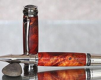 Admiral II Series Rollerball Pen: Amboyna Burl with Black Titanium and Rhodium