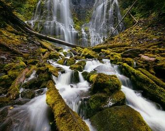 Proxy Falls, Oregon Waterfall with green moss