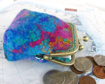 Cerulean Blue Multi Wet Felted wool coin purse, pink, green, blue silk threads, hand dyed tussah silk. Finished with batik lining.  Pretty!