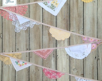 Vintage Doily Garland Wedding Bunting Handmade Crochet in Pink, Peach, Beige, White & Cream (Cherry Blossom) by Daisies Blue 4 metres