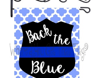 Custom Personalized Garden Sign Police Scallop Back the Blue