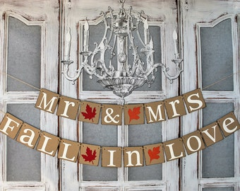 MR & MRS WEDDING BANNERs - Fall Colors - bARN wEDDING sIGNS