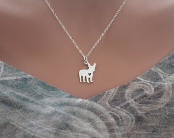 Sterling Silver Silhouetted French Bulldog Charm Necklace, French Bulldog Charm Necklace, I Love My French BullDog Necklace, Bulldog Charm