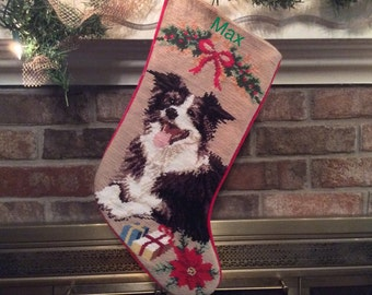 Border Collie Dog Stocking, Christmas stocking, Dog stocking, Border Collie Personalized Christmas stockings, Needlepoint stockings