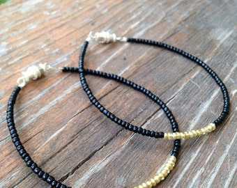 Beaded Glass Bead Bracelet Set of Two