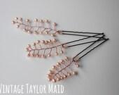Decorative wedding pearl hair pin fern leaf trio bridal wedding accessory