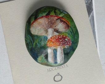 Mushrooms, hand painted sea stone, beach rock.