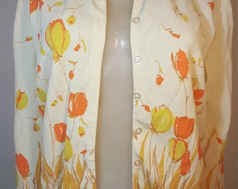 FREE  SHIPPING   1950  Floral  Cardigan